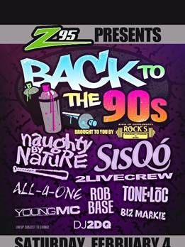 Hot  Z95 will present its Back to the 90s concert on Feb. 4, 2017, at the American Bank Center
