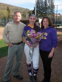 Hannah Lawrence with her parents, Steve Lawrence and Andrea Battaglia.