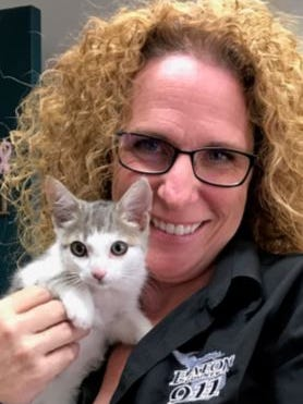 This cat was found Aug. 14 in a storm drain and needs a name. Lara O'Brien, Eaton County's central dispatch deputy director, adopted the kitten this month. Votes are being cast on a Facebook page to help O'Brien's family pick a name.