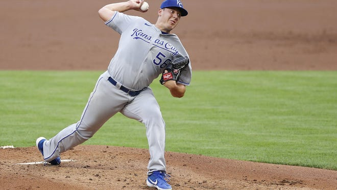 Brad Keller of the Kansas City Royals pitches in the first inning against the Cincinnati Reds at Great American Ball Park in Cincinnati on Wednesday, Aug. 12, 2020. The Royals won, 5-4, behind Keller's six scoreless innings of work.