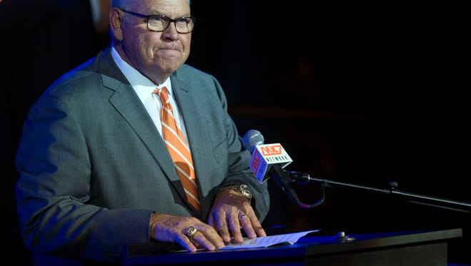 University of Tennessee athletic director Phillip Fulmer talks about his experiences with John Ward during a tribute to the late broadcaster on Wednesday, June 27, 2018.