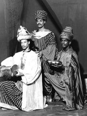"Tony Terry, the featured vocalist in the Crossroads Theatre production of ""Black Nativity,"" performed in the ensemble when the company presented the work in 1985.  Terry is shown (left) with fellow ensemble members Andre Smith (center) and James Arthur Johnson as the three magi. The 1985 cast also included Lee Truesdale, who is directing a current production running from Dec. 9 to 18."