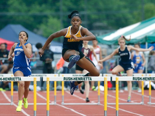 Spencerport's Vanessa Watson during the Class A 400m hurdles of the Section V Track and Field Championships at Rush-Henrietta High School.