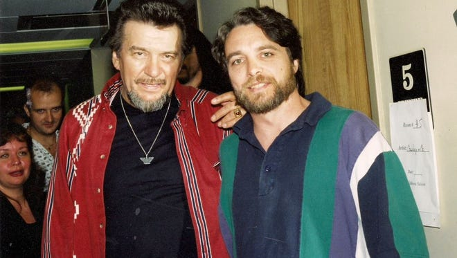 Waylon Jennings and son Terry Jennings backstage at the Wildhorse Saloon in 1995.