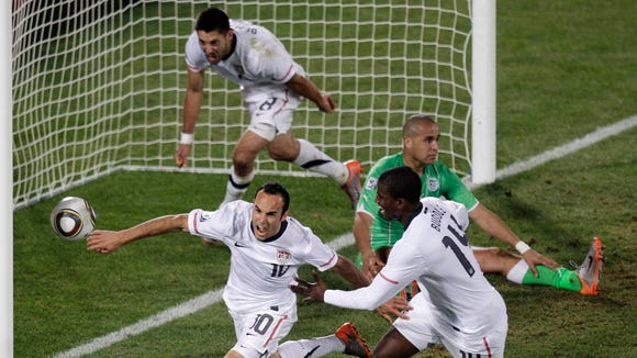Landon Donovan (10), America's hero with this goal against Algeria in the 2010 World Cup, was left off the country's 23-man roster for this summer's World Cup in Brazil.