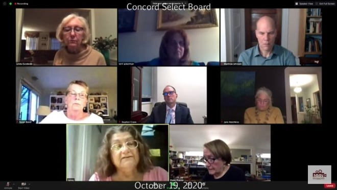 Concord resident Tanya Gailus, bottom left, of 62 Prescott Road addresses the Select Board during its virtual meeting on Oct. 19 after filing an Open Meeting Law complaint against the Transportation Advisory Committee.