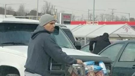 West Manchester Township Police are looking for the identity of this man, seen leaving the Weis store with a cart full of groceries he did not pay for.