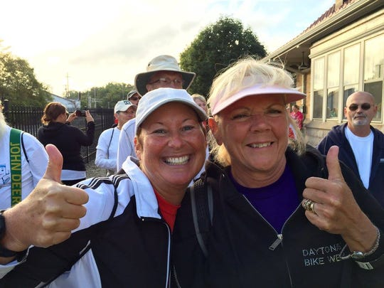 Lana Wright (left) and Linda Hay (right) during Walk
