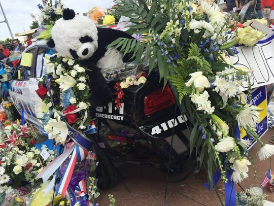 A memorial for five police officers slain in the Dallas