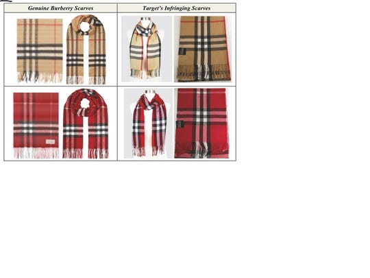 Undated Image shows genuine Burberry scarves with alleged