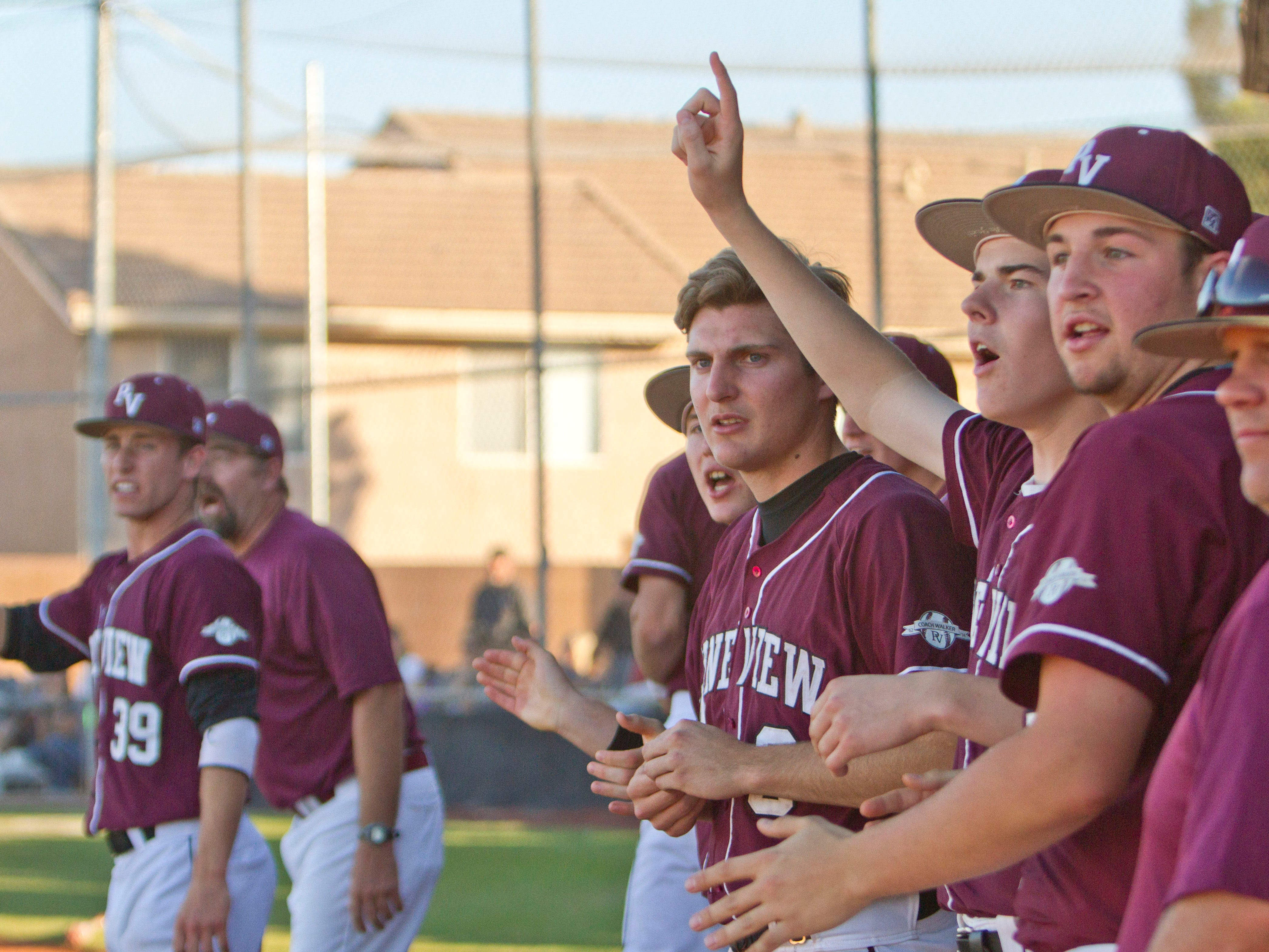 Pine View players encourage teammates from the sidelines Tuesday in St. George.