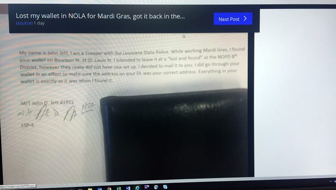 Here is the wallet and the accompanying letter from a Louisiana state trooper that was posted March 7, 2018, on the social news aggregation site Reddit.