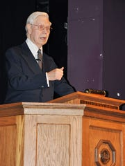 Publishing executive Henry Dormann of Bath shared his insights on leadership during the Elmira College Presidential Lecture series on Wednesday.