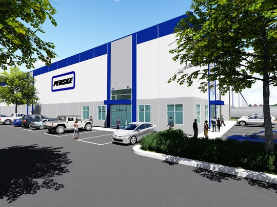 Rendering shows the Penske Logistics center that will operate in the Aerotropolis zone near Detroit Metro Airport.