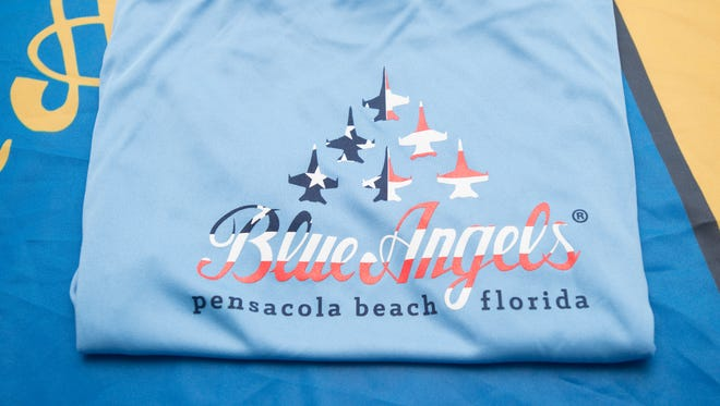 """Blue Angels t-shirts that include the """"Pensacola Beach, Florida"""" wording are being created and sold by the Logo Motion Marketing business in Pensacola on Wednesday, May 2, 2018."""