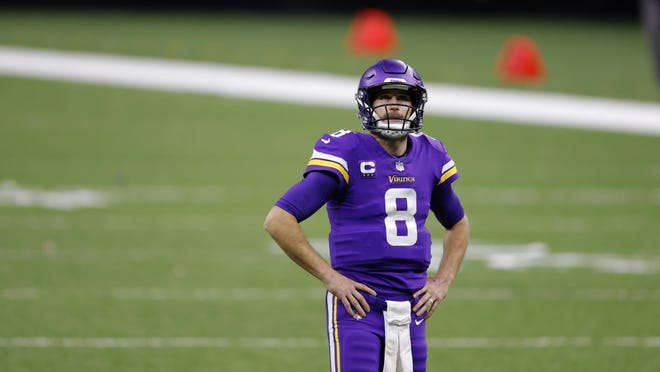 Minnesota Vikings quarterback Kirk Cousins (8) during an NFL football game against the New Orleans Saints, Friday, Dec. 25, 2020, in New Orleans.