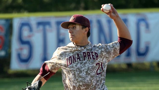 Iona Prep pitcher Anthony Piccolino delivers a pitch against Archbishop Stepinac during their baseball game at Stepinac in White Plains, April 27, 2016