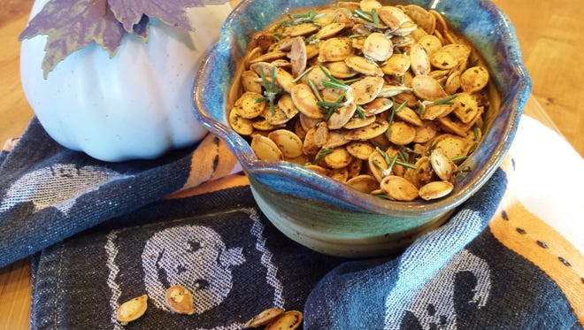 Roasted pumpkin seeds with rosemary by Chef Celia Casey.