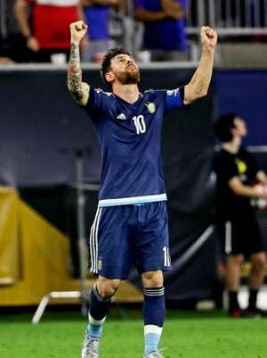Argentina midfielder Lionel Messi (10) celebrates  after scoring a goal during the first half against the United States in the semifinals of the 2016 Copa America Centenario soccer tournament at NRG Stadium.