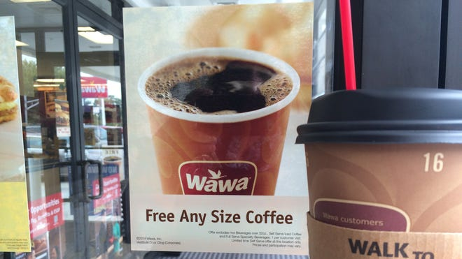 Wawa on Route 45 in Mantua offered free coffee on National Coffee Day, Sept. 29, 2014.