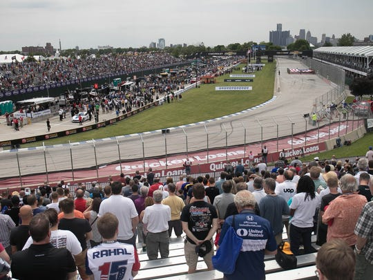 Fans watch the Verizon IndyCar Championship race during the Chevrolet Detroit Grand Prix on Saturday, June 3, 2017 on Belle Isle in Detroit.