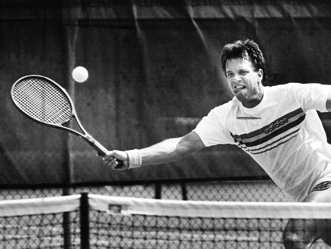 Marty Wolf plays at Met Tennis tournament in July, 1986. Wolf won six Cincinnati Met singles titles.