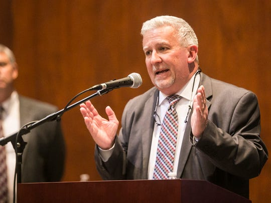 State Sen. Mike Folmer, R-York and Lebanon, answers questions regarding Senate Bill 76 during a community education session hosted by the York Suburban school board Wednesday, Feb. 8, 2017, at York Suburban High School, in Spring Garden Township. The program also featured a presentation from Wayne McCullough of the Pennsylvania Association of School Business Officials (PASBO). Amanda J. Cain photo