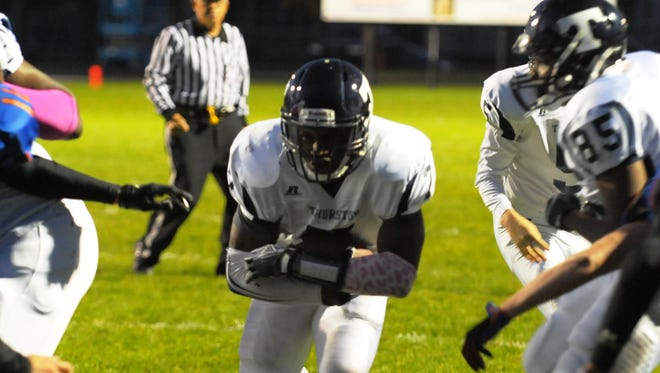 Redford Thurston's Laymon Giddings-Whatley scored two TD's in the Eagles' victory over RU Friday night.