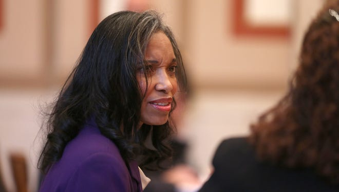 Suspended Hamilton County Juvenile Court Judge Tracie Hunter during a court appearance late last year.