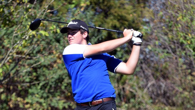 Fort Defiance's Christian Michael hits his tee shot on the 9th hole during the VHSL Region 3C golf championships on Monday, Oct. 2, 2017, at the Club at Ironwood in Staunton, Va.
