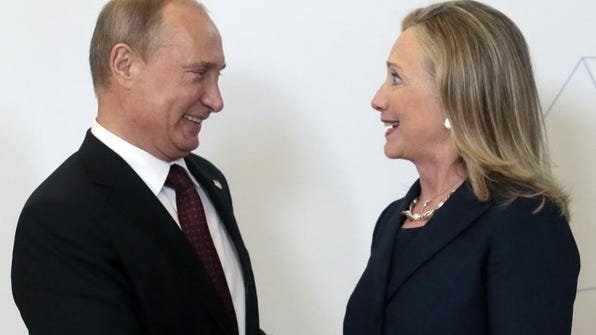 Russian President Vladimir Putin meets Secretary of State Hillary Clinton on her arrival at the APEC summit in Vladivostok, Russia, in September, 2012.