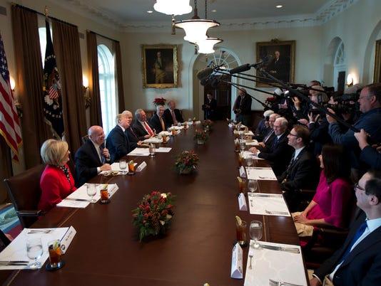 Donald Trump, Diane Black, Kevin Brady, Orrin Hatch, John Shimkus, Fred Upton, Steven Mnuchin, Kristi Noem, Peter Roskam, Mike Pence, Mike Enzi, Rob Bishop