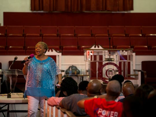 July 29, 2017 - Loyce Lambert Ryan, a judge for the Shelby County General Sessions Court, addresses an audience during a record expungement clinic at Bloomfield Full Gospel Baptist Church on Saturday. The clinic was the combined effort of the Memphis Bar Association, the Tennessee Bar Association, and the Ben F. Jones chapter of the National Bar Association.
