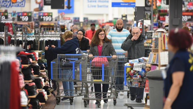 This is for Walmart's prep for the Thanksgiving Black Friday.  Customers are seen at Walmart in Seacacus , November 21, 2017.