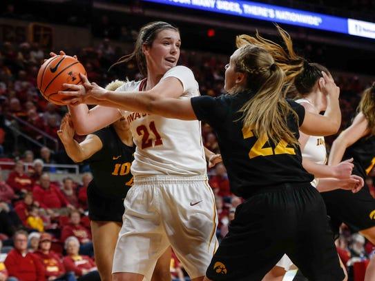 Iowa State Bridget Carleton looks for an open teammate