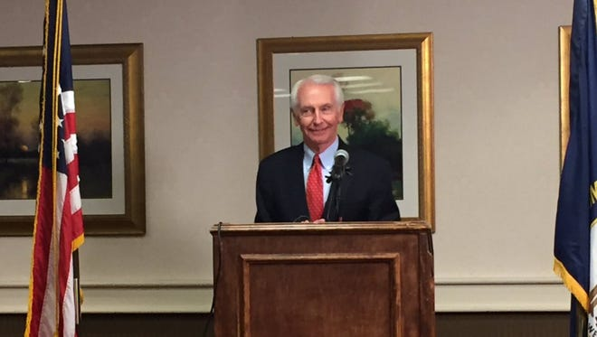 Former Kentucky Gov. Steve Beshear at a press conference Wednesday addressing allegation's Gov. Matt Bevin made about his administration