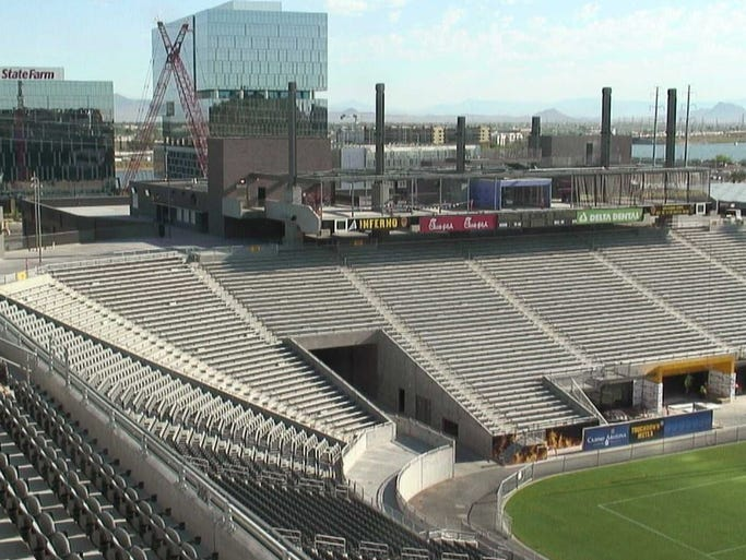 A view of the framework for the new video board at