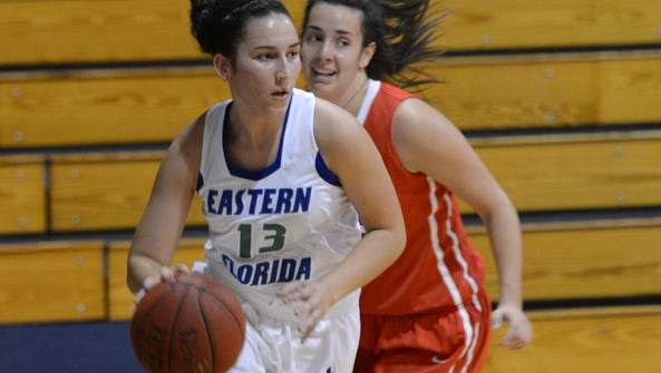 Paola Vazquez of Eastern Florida (13) is pursued by