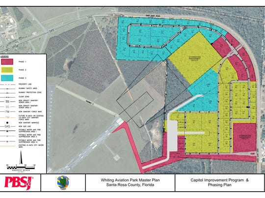 The master plan for development of Whiting Aviation Park.