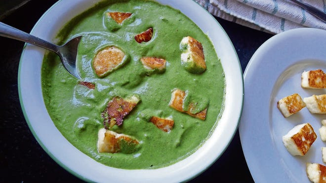 Palak paneer needs no condiment or garnish, and is lovely atop jasmine or basmati rice.