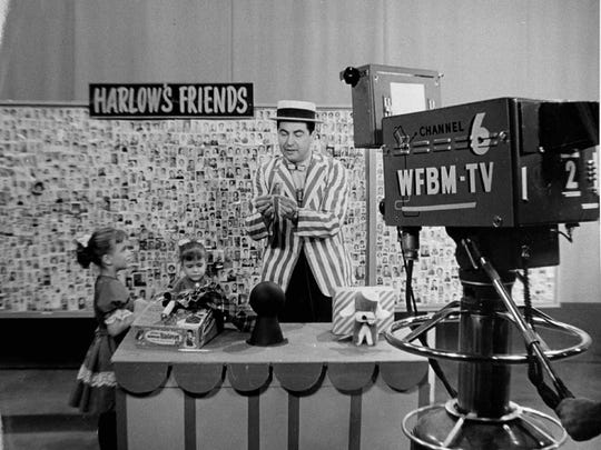 Harlow Hickenlooper on the set at the old WFBM Television studio in the early sixties.