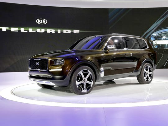 The KIA Telluride Concept SUV is revealed at Cobo Center in downtown Detroit on Jan. 11, 2016.