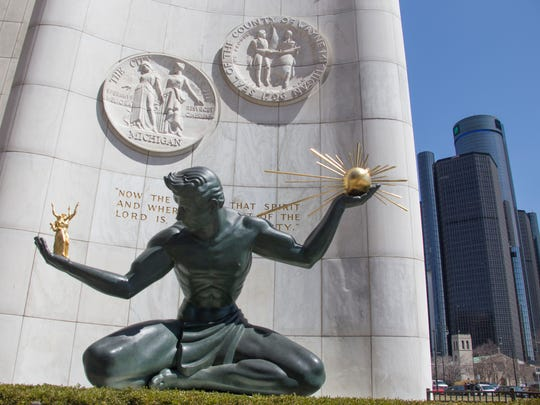 The Spirit of Detroit, a bronze sculpture by Marshall Fredericks, at the Coleman A. Young Municipal Center in Detroit on Thursday, April 19, 2018.