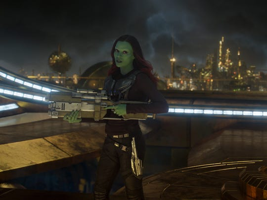 "Gamora (Zoe Saldana, seen here in ""Guardians of the"
