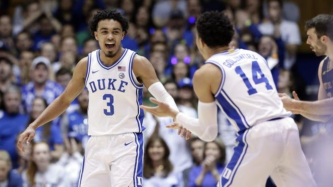 Reflecting on his two-year career at Duke, Tre Jones (3) said the 2019 ACC Championship and this season's game at UNC were among his favorite moments.
