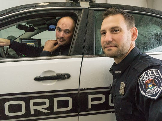 Milford Police Officers JD Panza and Dan Caldwell,