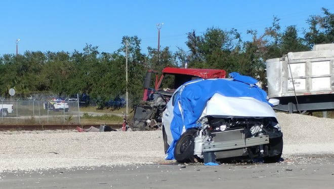 A fatal crash shut down westbound Alico Road at Gator Road in south Lee County on Monday, Dec. 11, 2017.