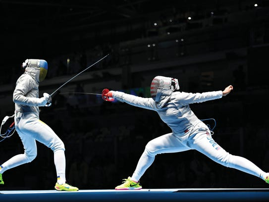 Muhammad (on the right) competed against Ukraine's