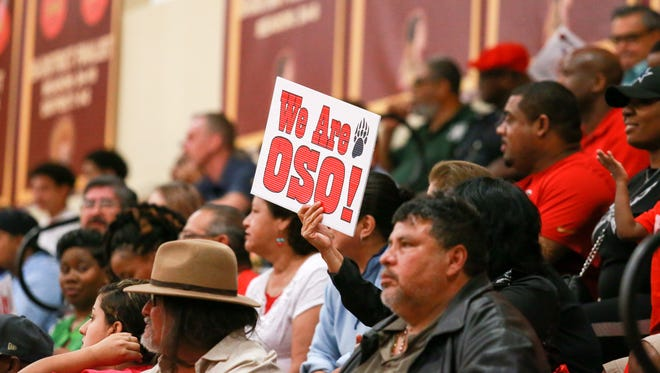 West Oso brought plenty of fans to back their boys in the Class 4A UIL Boys' Area Playoff basketball game at the Tuloso-Midway High School on Friday Feb. 24, 2017.