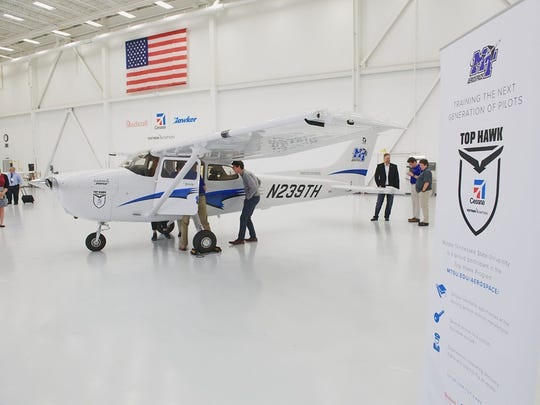 MTSU aerospace students and administrators check out
